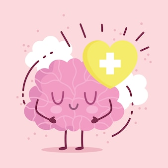 World mental health day, cartoon brain character heart medical