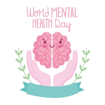 World mental health day, cartoon brain in hands ribbon card