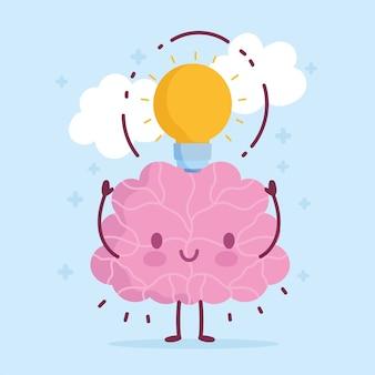 World mental health day, cartoon brain light bulb idea