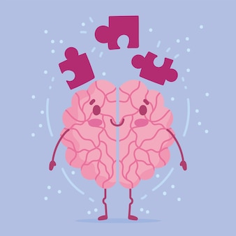 World mental health day, cartoon brain puzzles pieces