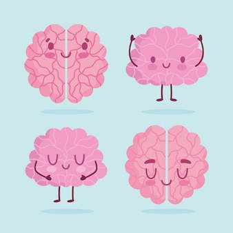 World mental health day, cartoon brains human organ expression icons