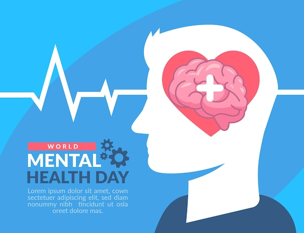 World mental health day flat design