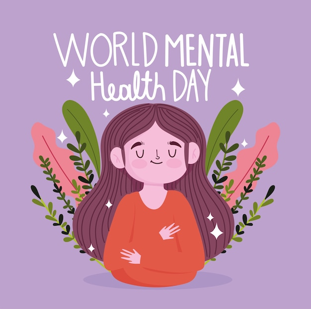 World mental health day, girl fliage nature lelaves, message