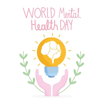 World mental health day, hands with brain in light bulb support