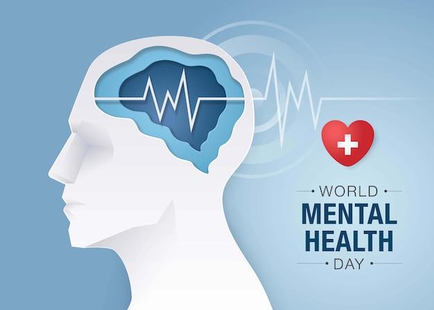 Всемирный день психического здоровья, голова человека с мозгом и психическим здоровьем, энцефалография мозга, концепция осведомленности о психическом здоровье.