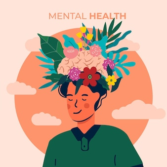 World mental health day illustration concept