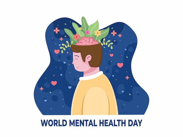 World mental health day illustration with relaxing people and floral in the head
