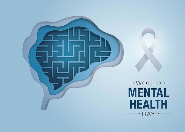 World mental health day, maze brain and mental health, encephalography brain.