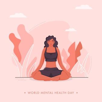 Дизайн плаката всемирного дня психического здоровья с молодой женщиной в позе медитации на розовом фоне природы.