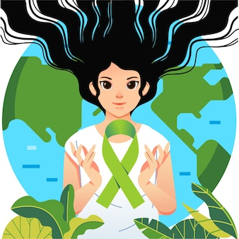 World mental health day poster illustrated with women and green ribbon
