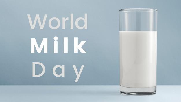 World milk day advertising design with glass of milk