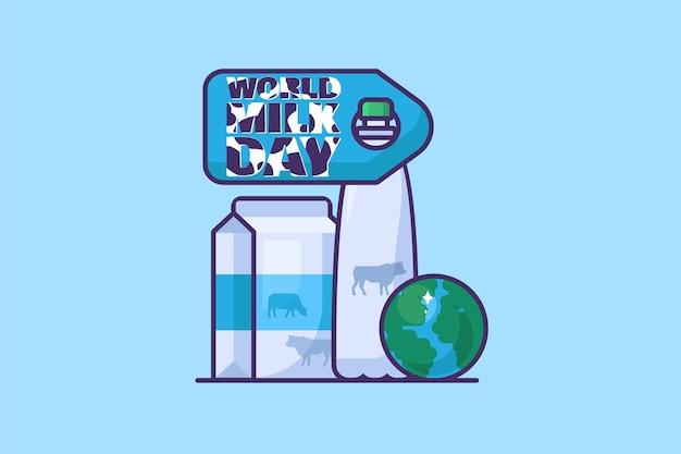 青い背景にミルクとヨーグルトのボトルとポスターやグリーティングカードの世界牛乳の日グローバル乳製品イベントラベルデザイン要素。テンプレートフラットベクトルイラスト