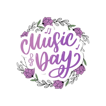 World music day lettering calligraphy brush logo holiday