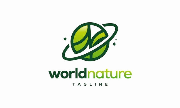 World nature eco logo template, global leaf eco logo designs concept