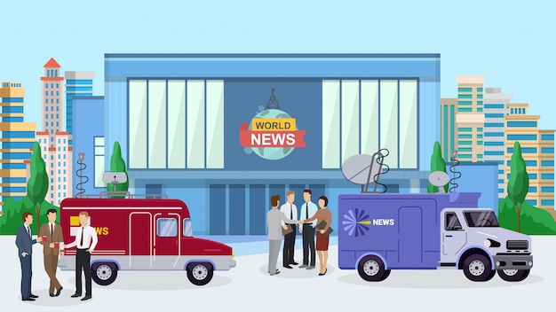 World news building, reporter standing near tv car, truck illustration.
