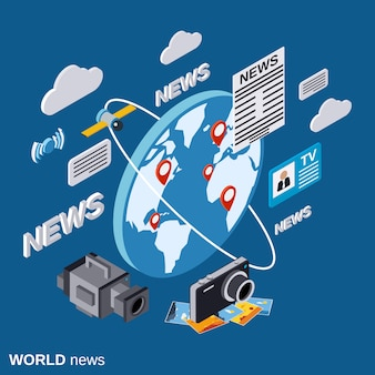 World news flat isometric concept illustration