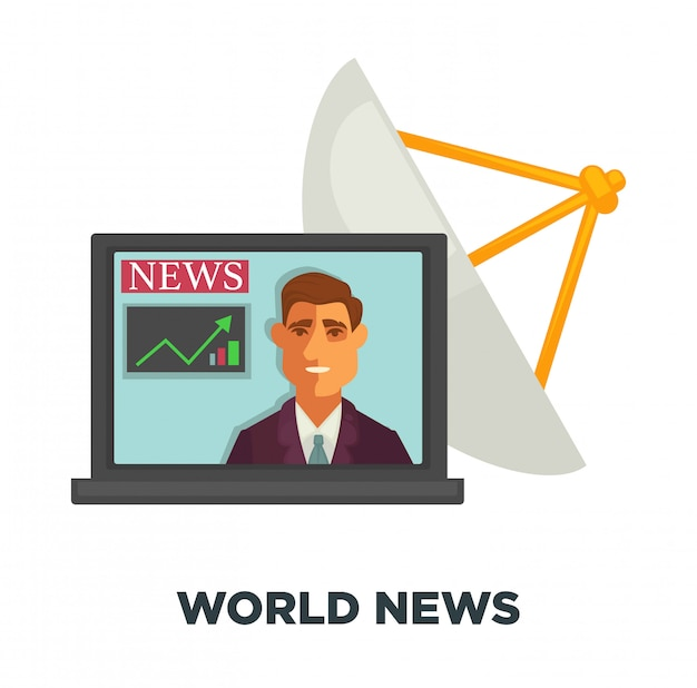 World news in open laptop and satellite dish
