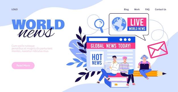 デバイスと背景に人のキャラクター、白い背景の上のベクトルイラストと世界のニュースのウェブサイトのバナーテンプレート。グローバルニュース放送のランディングページ。