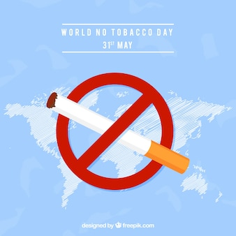 World no tobacco day background with a banning sign
