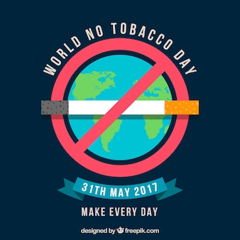 World no tobacco day background with banning sign