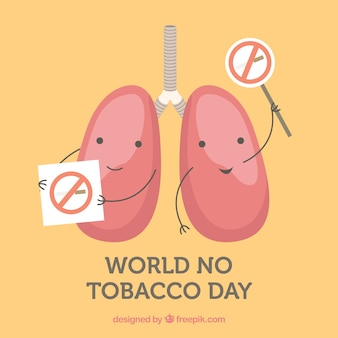 World no tobacco day background with lungs on strike