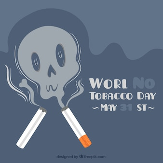 World no tobacco day background with smoke skull