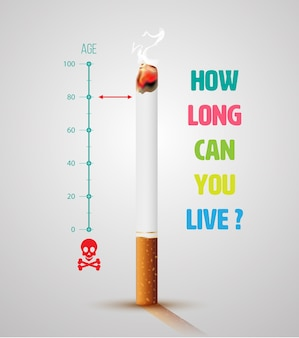 World no tobacco day banner with cigarette and message.