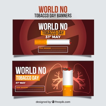 World no tobacco day banner with date