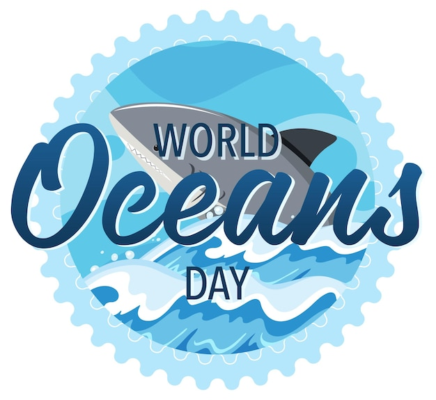 World ocean day banner with a big shark cartoon background
