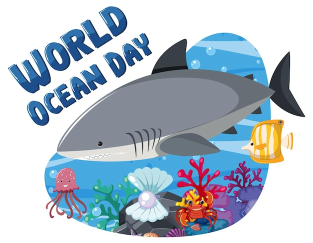 World ocean day banner with a big shark and sea animals