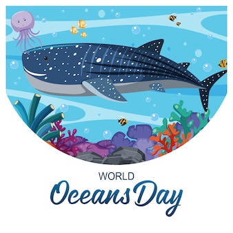 World ocean day banner with a big whale and other sea animals