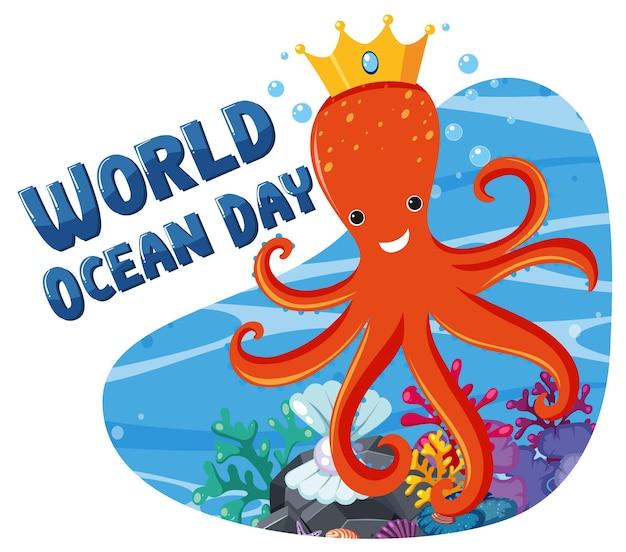 Всемирный день океана баннер с милым мультипликационным персонажем осьминога