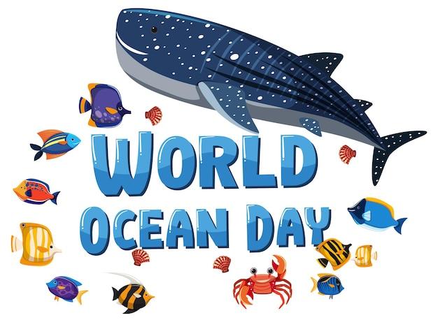 白い背景の上の多くの異なる海の動物と世界海洋デーのバナー