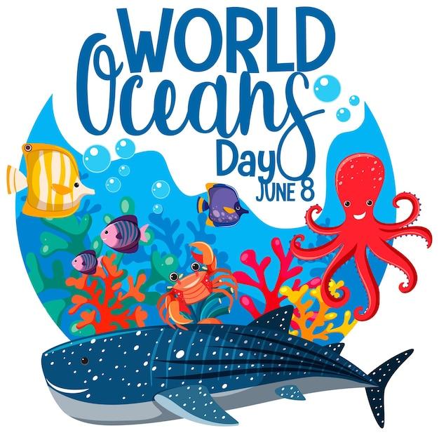 Всемирный день океана баннер с множеством различных морских животных