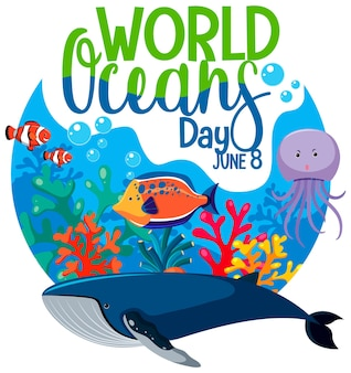 World ocean day banner with many different sea animals