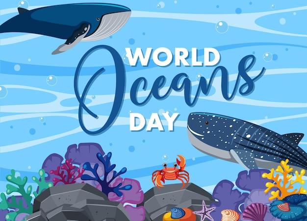 多くの異なる海の動物がいる世界海洋デーのバナー