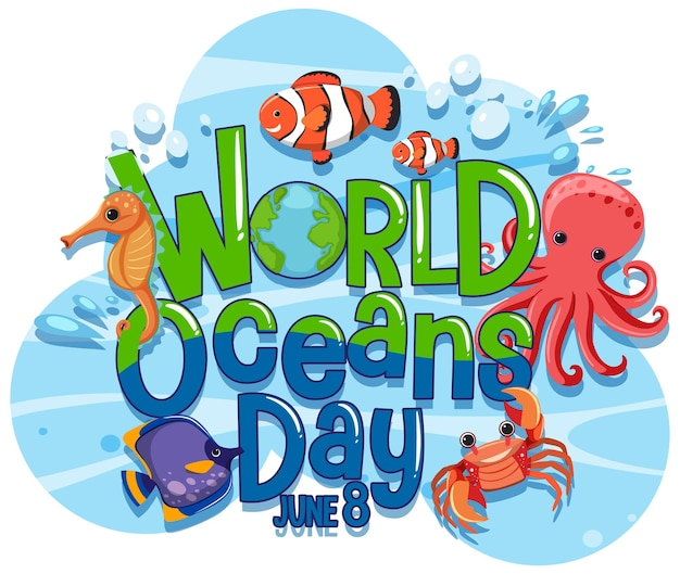 World ocean day banner with sea animals cartoon character