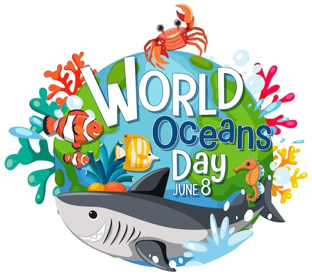 海の動物の漫画のキャラクターと世界海洋デーのバナー