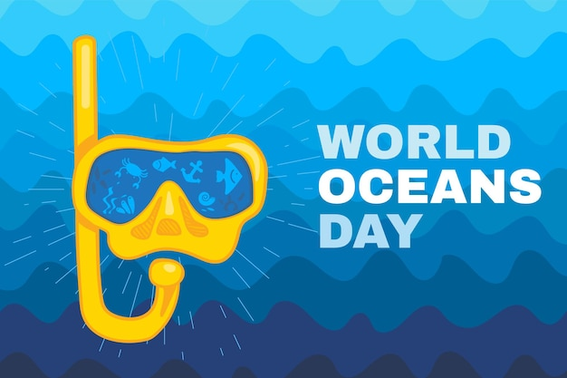 World ocean day card or poster