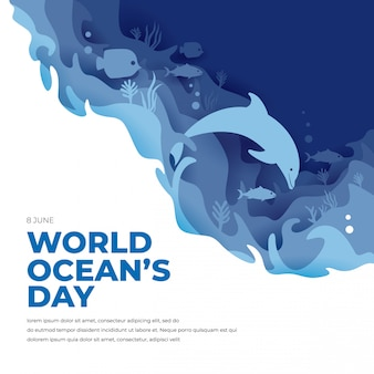 World ocean day concept with dolphin and fish
