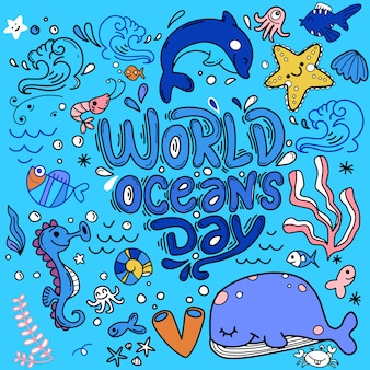 World ocean day, dedicated to protect sea, ocean and marine animals. background with whale, crab, starfish, fishes, turtle, hand drawn lettering