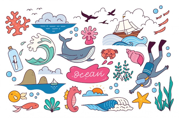 世界海の日落書き要素