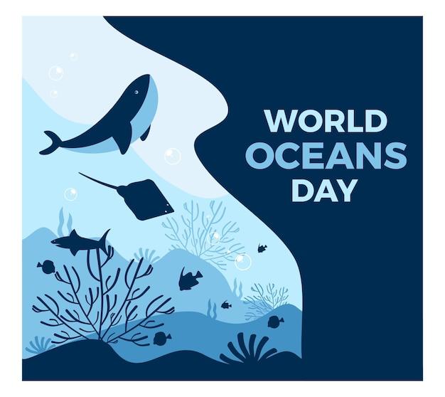 평면 스타일, 정사각형 크기의 일러스트와 함께 세계 해양의 날 메시지