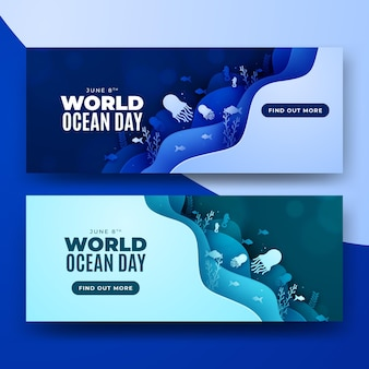 World ocean day paper style layers banner