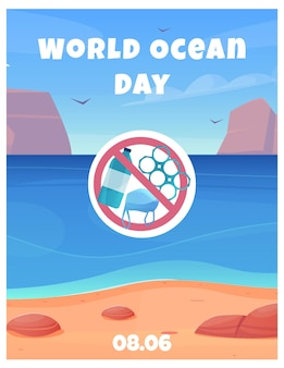 World ocean day poster with clean water and beach