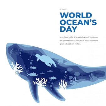 World ocean day underwater greeting card with whale and turtle
