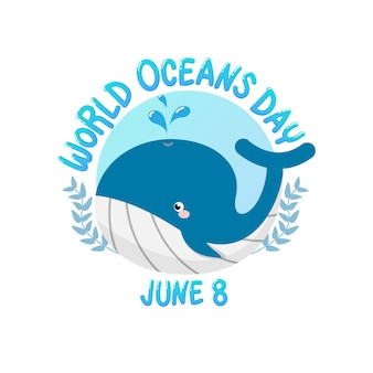 World ocean day with whale spray water in circle.