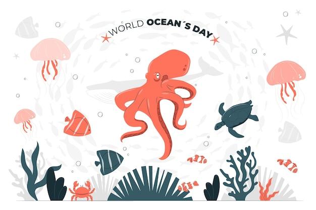 世界海洋デーのコンセプトイラスト