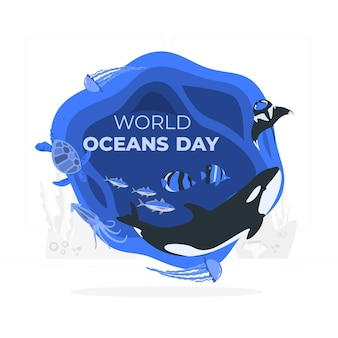 Illustrazione di concetto di giornata mondiale dell'oceano