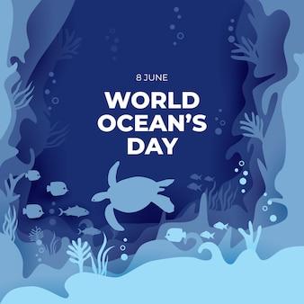World ocean's day paper art background